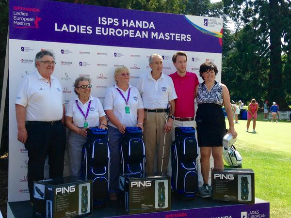 Image of 6 competitors with Golf Equipment on the ISPS Handa Ladies European Masters Stand